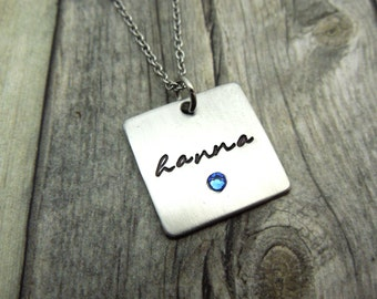 Square Name necklace with birthstone crystal, personalized mothers necklace