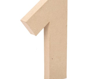 """12"""" Paper Mache Free Standing Lightweight  Number 1 12 x 1.5 inches"""