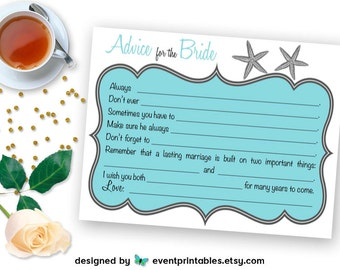 Starfish Bridal Shower Mad Libs, Printable DIY Bride Advice Cards, Beach Wedding Shower Game, Aqua Blue DIGITAL DOWNLOAD by Event Printables