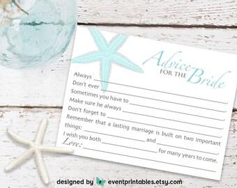 Bridal Shower Mad Libs, AQUA Starfish Beach Wedding Mad Libs, Advice for the Bride Bridal Shower Game, DIGITAL FILE by Event Printables