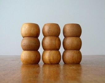 Ten Vintage Teak Wood Danish Modern Napkin Rings