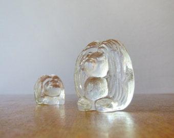 Pair Mid Century Swedish Glass Trolls / Tomtes / Gnomes Bergdala