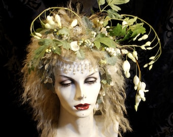 Woodland Nymph, Feral Fairy, Elf, Full Wig  hair piece Headpiece Fantasy Costume Faerie Renaissance
