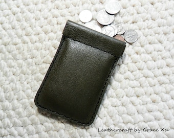 100% handmade hand stitched olive green cowhide leather flex frame pouch for coin, trinket, jewelry, cord, ear buds, ipod, etc.
