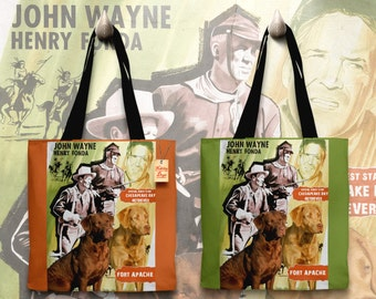 Chesapeake Bay Retriever Art Tote Bag - Fort Apache Movie Poster   Perfect DOG LOVER Gift for Her Gift for Him