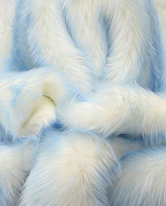 Rug White Shaggy Blue Tips Fur Faux Fur 8'x10
