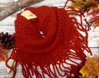 FRINGE RUST scarf, wrap, fringe, cowl, tube, unique, knit, infinity, poncho,  shawl, fall, winter, scarves, boho, women, unique, women   SC5
