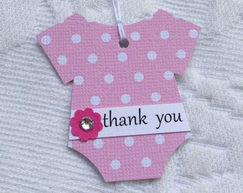 Set of 12 Pink and White Polka Dot Bodysuit Thank You Tags - Pink Flowers with Rhinestone Centers  - Baby Shower, Favor Gift Tags