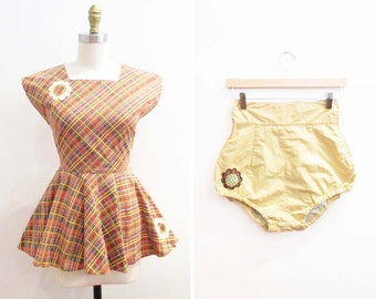 Vintage 1940s Playsuit | Colorful Plaid Striped Floral 1940s Playsuit Top and Bloomers | size small