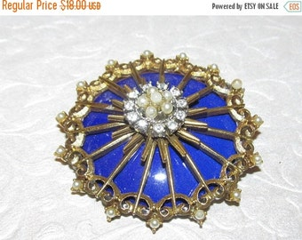 Vintage Brooch Royal Blue Lucite and Faux Pearls and Rhinestones ~ Antique Metal