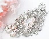 SALE Crystal wedding bridal vintage flower brooch , head piece