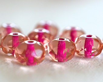 Czech Rondell Faceted Glass Bead -8X6mm- Pink Magenta Lined - 10 Pieces (AN6-63)