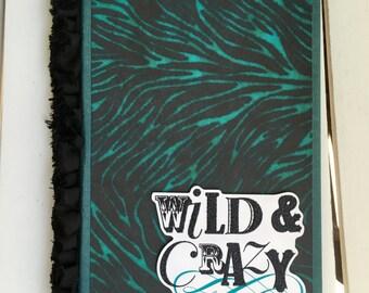Memo Pad Folder with pocket and memo pad, 5X8 standard size memo pad, for note taking, desk, phone desk, in teal zebra