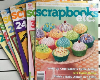 Scrapbooks Etc. magazines, 6, a Better Homes and Gardens Publication, from Aug 2010 to April 2012, for use as an idea book, card making