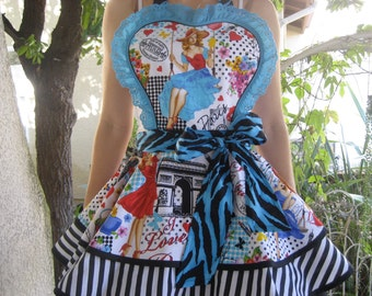 French Pin Up Apron Paris Retro