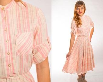 Pink striped linen dress size medium