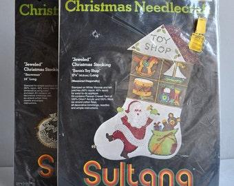 SALE 20% OFF! Sultana Christmas Felt Needlecraft Stocking - Set of 2 - Crafting Kit Sets