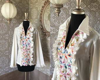 Women's Vintage 1970's White Tuxedo Ruffle Front Shirt with Floral Embroidery Medium
