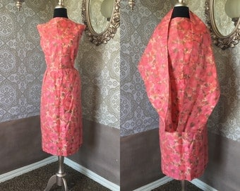 Vintage 1950's 60's Pink Floral Dress with Matching Shawl XXL