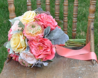 Summer Silk Wedding Bouquet made with Coral Roses, Yellow Roses, Peach Roses, Ranunculus and Dusty Miller Silk Flower Wedding Bouquet.