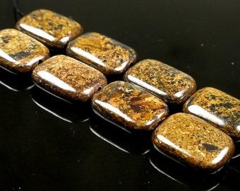 Bronzite Rectangle Bead  - 16mm x 12mm x 5mm - 8 beads - B3817