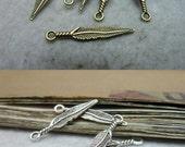 100pcs 5x29mm The Plume  Antique Bronze Retro Pendant Charm For Jewelry Bracelet Necklace Charms Pendants C8303-C8096