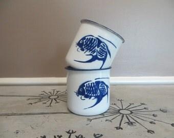 Enamel Cup Enamel Mug Blue and White Koi Fish Catfish Blue White Metal Cup Coffee Cup Vintage Enamelware