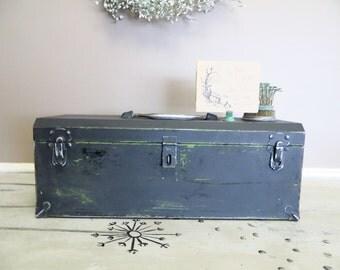 Black Chalk Paint Box Tool Box Metal Box Storage Box Wedding Gift Card Box Industrial Box Industrial Storage Hinged Box Black and Silver