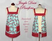 """Jingle Deer Pinafore Apron """"no tie apron"""" -all day apron, Christmas Pinafore, made to order in 3 sizes, designed by LauriesGiftsBiz"""