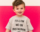 Follow Me on Instagram bodysuit  // pink and gray // hipster baby // instagram famous // social media // famous baby // baby model
