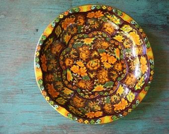 Daher Decorated Ware Metal Bowl, Vintage Metal Bowl, Orange Floral Metal Bowl, Vintage Daher