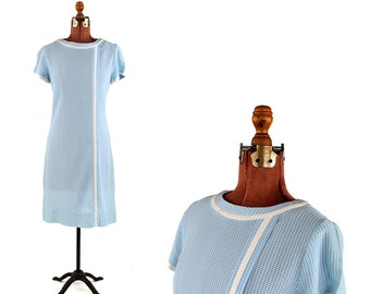 Vintage 1960's Pale Blue + White Abstract Shift Preppy Baby Doll Scooter Shift Mod Dress L