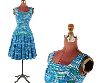Vintage 1950's Kasper Arnold Fox Green + Blue Abstract Plaid  Drop Waist Garden Party Dress S