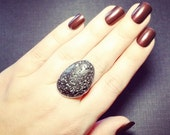 ON SALE Lava Rock Ring - Volcanic Rock - Essential Oil Diffuser Jewelry - Lava Stone - Aromatherapy Diffuser Ring