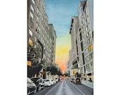 Manhattan Stonehenge Sunset New York Original Painting
