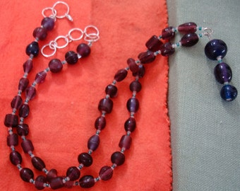 glass bead  NECKLACE is 21-23 Inch. Lobster clasp.Matching EARS DROP 2  inch on  lever back wires.  see desctipton.