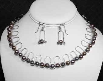Purple Pearl Necklace and Earring Set in Silver