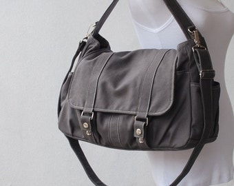 Back To School SALE - 30% Pico2 in Dark Grey (Water Resistant) Laptop / School Bag / Shoulder Bag / Messenger Bag/Diaper Bag/ School Bag/ Wo