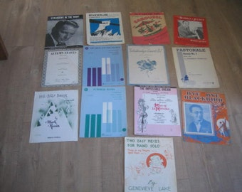 13 Vintage Sheet Music for the Piano
