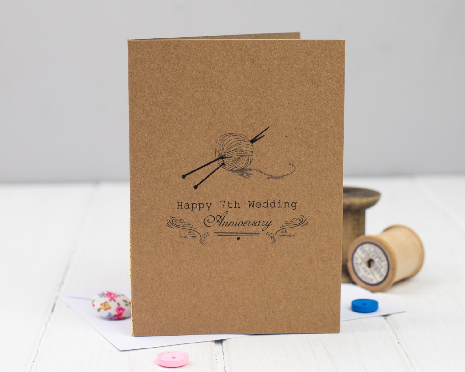 Gift For 7th Wedding Anniversary: 7th Anniversary Card Seventh Wedding Anniversary Card Wool