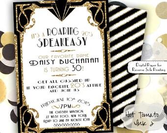 roaring 20s invitation gold glitter birthday party invitation 1920s party invitation great gatsby - Great Gatsby Party Invitations