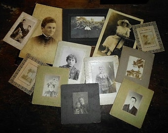11 Antique Victorian Edwardian Cabinet Cards Post Card