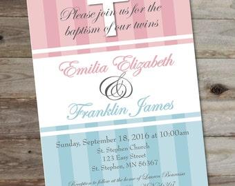 Twins baptism invite   Etsy