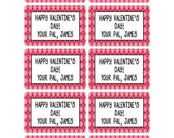 Valentine Stickers Boys, Treat Bag Labels, Goodie Bag Stickers, Personalized Valentine Stickers, Happy Valentine's Day Stickers (466)