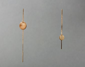 Silver or Gold-Fill Tempo Threader Earrings with Asymmetrical Discs    Sequence Collection by Haley Lebeuf