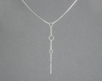 Silver or Gold-Fill Fate Box Chain Lariat | Sequence Collection by Haley Lebeuf