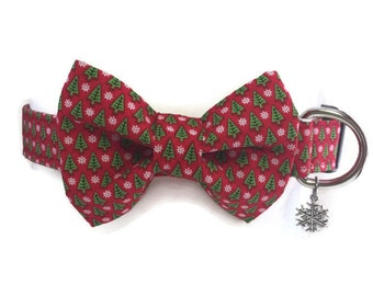 Buon Natale Christmas Bow Tie Dog Collar All Sizes