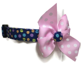Multicolored Polka Dots Dog Collar size Extra Large