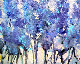 "Original Painting Semi Abstract ""Lavender Forest "" Acrylic On Canvas Square Gallery 8-3/4"" x 8- 3/4"" CarlottasArt"