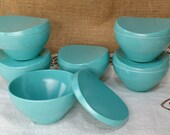 ONE (6 available upon listing) Mid Century Beverly by Prolon Melmac Turquoise Blue Covered Bowl with lid - Plastic, Melamine, funky retro
